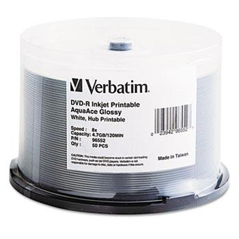 Verbatim® Inkjet Printable DVD-R Discs, 4.7GB, 16x, Spindle, White, 50/Pack