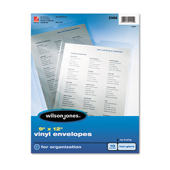 Wilson Jones® Envelope Pouches, Non-Glare Finish, Clear, 10/Pack