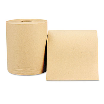 Hardwound Roll, Towels, 8 x 600 ft, Natural, 12 Rolls/Carton