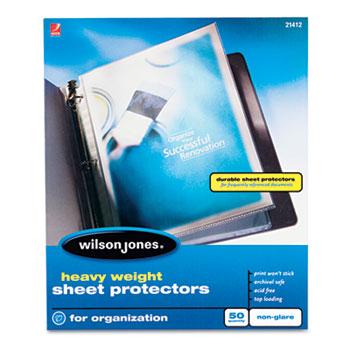 Wilson Jones® Heavy Weight Sheet Protector, Non-Glare Finish, Clear, 50/Box