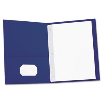 "Universal Two-Pocket Portfolios with Tang Fasteners, 0.5"" Capacity, 11 x 8.5, Dark Blue, 25/Box"