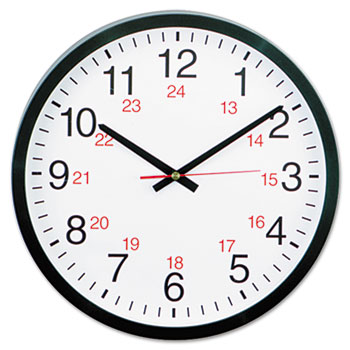 """Universal® 24-Hour Round Wall Clock, 12.63"""" Overall Diameter, Black Case, 1 AA (sold separately)"""