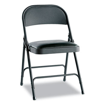 Steel Folding Chair with Two-Brace Support, Graphite Seat/Graphite Back, Graphite Base, 4/Carton