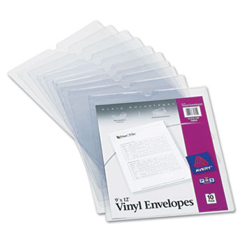 "Vinyl Envelopes, 9"" x 12"", Clear, 10/PK"