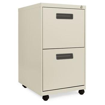 Alera® Two-Drawer Metal Pedestal File, 16w x 19-1/2d x 28-1/2h, Putty