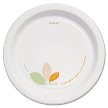"""SOLO® Cup Company Bare Paper Eco-Forward Dinnerware, 8 1/2"""" Plate, Green/Tan, 250/Carton"""