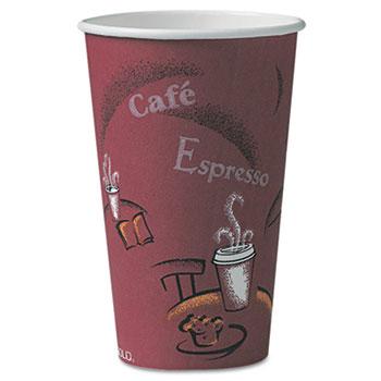 Bistro Design Hot Drink Cups, Paper, 16oz, Maroon, 300/Carton