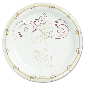"""SOLO® Cup Company Symphony Paper Dinnerware, Mediumweight Plate, 8 1/2"""" Round, Tan, 125/Pack"""