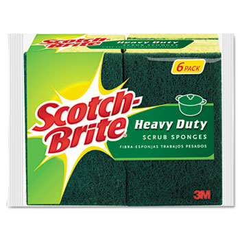 "3M Scotch-Brite™ Heavy-Duty Scrub Sponge, 4 1/2"" x 2 7/10"" x 3/5"", Green/Yellow, 6/Pack"