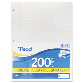 Mead® Filler Paper, 15lb, College Rule, 11 x 8 1/2, White, 200 Sheets