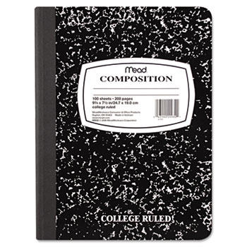 Square Deal Composition Book, College Rule, 9 3/4 x 7 1/2, White, 100 Sheets