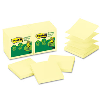 Post-it® Recycled Pop-up Notes, 3 x 3, Canary Yellow, 100-Sheet, 12/Pack