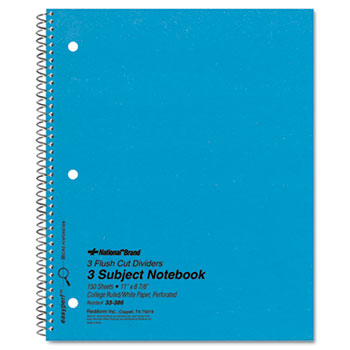 National® 3 Subject Wirebound Notebook, College Rule, 11 x 8 7/8, White, 150 Sheets