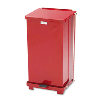 Rubbermaid® Commercial Defenders Biohazard Step Can, Square, Steel, 12gal, Red