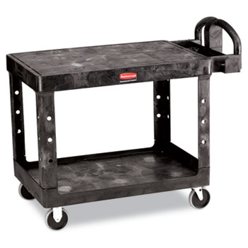 Rubbermaid® Commercial Flat Shelf Utility Cart, Two-Shelf, 25-1/4w x 44d x 38-1/8h, Black