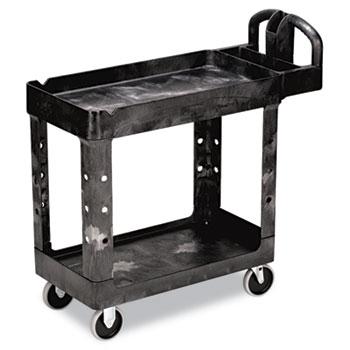 Rubbermaid® Commercial Heavy-Duty Utility Cart, Two-Shelf, 17-1/8w x 38-1/2d x 38-7/8h, Black