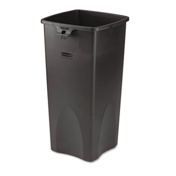 Untouchable® Waste Container, Square, Plastic, 23gal, Black