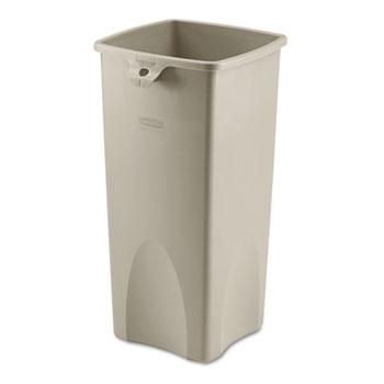 Untouchable® Waste Container, Square, Plastic, 23gal, Beige