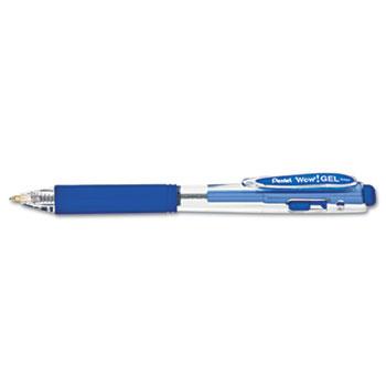 Pentel® WOW! Retractable Gel Pen, .7mm, Trans Barrel, Blue Ink, Dozen