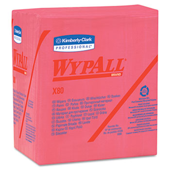WypAll® X80 Wipers, 1/4-Fold, HYDROKNIT, 12 1/2 x 13, Red, 50/Box, 4 Boxes/Carton
