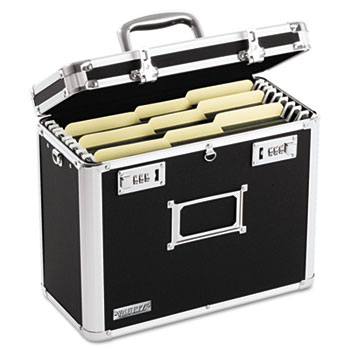 Vaultz® Locking File Tote Storage Box, Letter, 13-3/4 x 7-1/4 x 12-1/4, Black