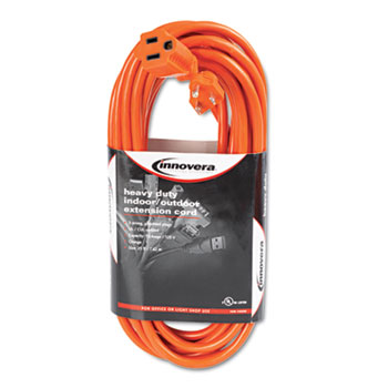 Innovera® Indoor/Outdoor Extension Cord, 25ft, Orange