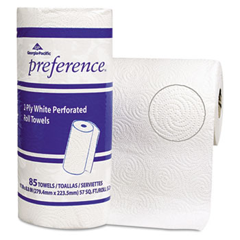 Perforated Paper Towel Roll, 11 x 8 4/5, White, 85/Roll, 15 Rolls/Carton