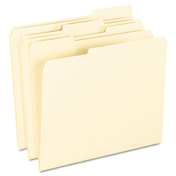 End File Folders, 1/3 Cut Top Tab, Letter, Manila, 100/Box