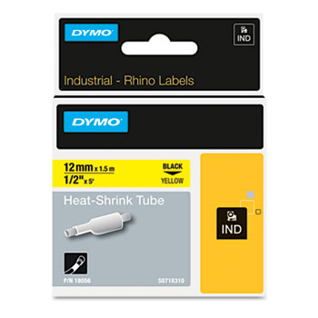 "DYMO® Rhino Heat Shrink Tubes Industrial Label Tape, 1/2"" x 5 ft, White/Black Print"