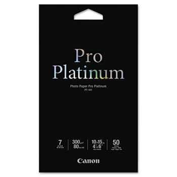 Canon® Photo Paper Pro Platinum, High Gloss, 4 x 6, 80 lb., White, 50 Sheets/Pack