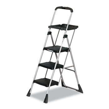 Cosco® Max Work Platform Project Ladder, 225lbs Duty Rating, 22wx31dx55h, Steel, Black