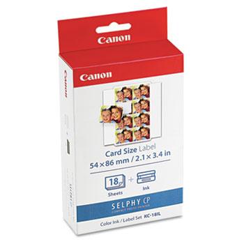 Canon® 7740A001 (KC-18IL) Ink & Label Set, Black/Tri-Color