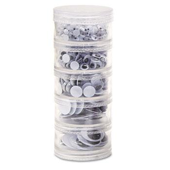 Creativity Street® Storage Stacker Wiggle Eyes, Assorted Sizes, Black, 560/Pack