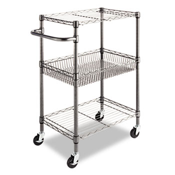 Alera® Three-Tier Wire Cart with Basket, 28w x 16d x 39h, Black Anthracite