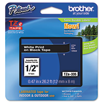TZe Standard Adhesive Laminated Labeling Tape, 1/2w, White on Black