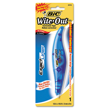 "Wite-Out Exact Liner Correction Tape Pen, Non-Refillable, Blue, 1/5"" x 236"""