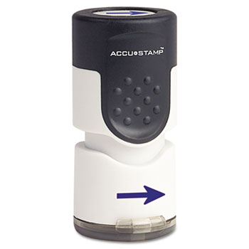 "ACCUSTAMP® Accustamp Pre-Inked Round Stamp with Microban, Arrow, 5/8"" dia, Blue"
