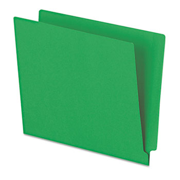 Pendaflex® Reinforced End Tab Folders, Two Ply Tab, Letter, Green,  100/Box