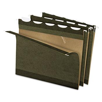 Ready-Tab Reinforced Hanging Folders, 1/5 Tab, Letter, Green, 25/Box
