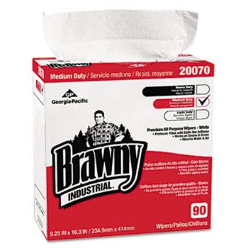 Medium-Duty Premium Wipes, 9 1/4 x 16 3/8, White, 90 Wipes/Box, 10 Boxes/Carton