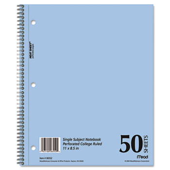 DuraPress Cover Notebook, College Rule, 8 1/2 x 11, White, 50 Sheets