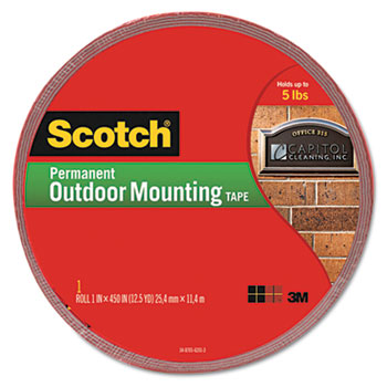 """Scotch™ Exterior Weather-Resistant Double-Sided Tape, 1"""" x 450"""", Gray w/Red Liner"""