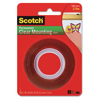 """Scotch™ Double-Sided Mounting Tape, Industrial Strength, 1"""" x 60"""", Clear/Red Liner"""