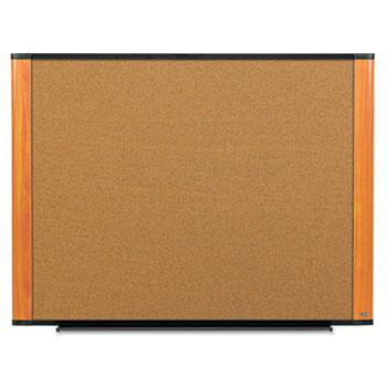 3M™ Cork Bulletin Board, 72 x 48, Aluminum Frame w/Light Cherry Wood Grained Finish