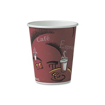 SOLO® Cup Company Bistro Design Hot Drink Cups, Paper, 10oz, Maroon, 300/Carton