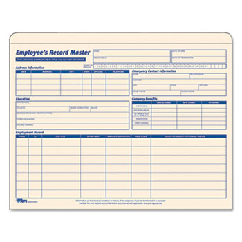 TOPS™ Employee Record Master File Jacket, 9 1/2 x 11 3/4, 10 Point Manila, 15/Pack