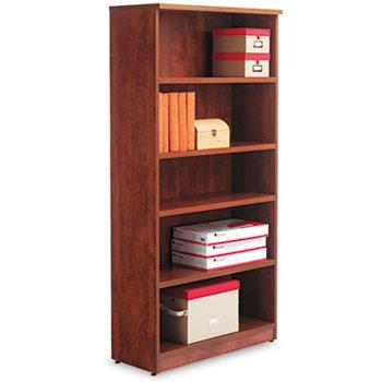 Alera® Alera Valencia Series Bookcase, Five-Shelf, 31 3/4w x 14d x 64 3/4h, Medium Cherry