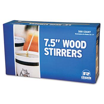"Royal Paper Wood Coffee Stirrers, 7 1/2"" Long, Woodgrain, 500 Stirrers/Box, 10 Boxes/Carton"
