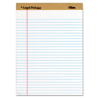 TOPS™ The Legal Pad Ruled Perforated Pads, Legal/Wide, 8 1/2 x 11 3/4, White, Dozen