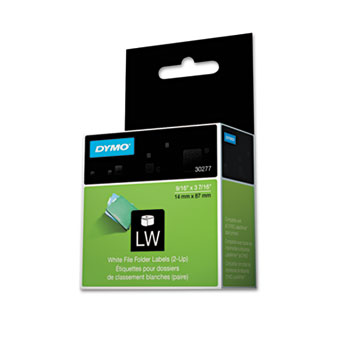 LabelWriter 2-Up File Folder Labels, 9/16 x 3 7/16, White, 260 Labels/Roll